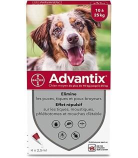 Advantix Spot-On per Cani da 10 a 25 Kg - Pipette antiparassitarie - 4 Pipette monodose da 2,5 ml