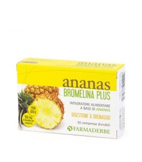 Ananas Bromelina Plus - Integratore drenante e digestivo - 30 compresse