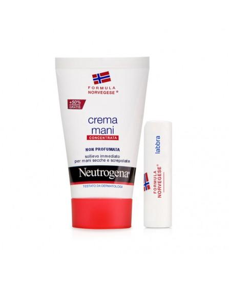 Neutrogena Crema Mani Senza Profumo + Stick Labbra Secche Omaggio