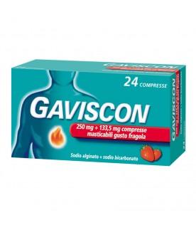 Gaviscon 24 Compresse Gusto Fragola 250mg+133,5mg